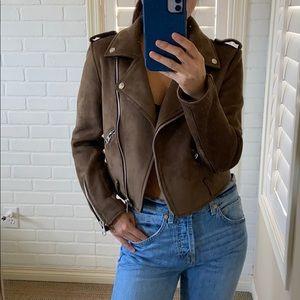Zara suede moto biker jacket